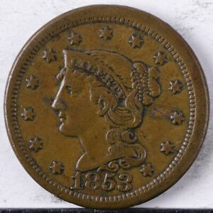 1853 Braided Hair Large Cent XF +