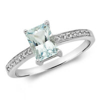 Aquamarine and Diamond Ring White Gold Emerald Cut Engagement Certificate