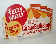 1960's FUZZY WUZZY Circus Bath Soap Store Display SIgn