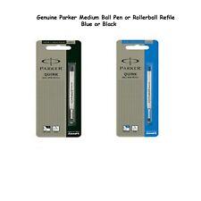 Genuine Parker Medium Fine Ball point Pen or Roller ball Refill - Blue Black