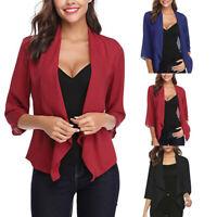 Womens Open Front Light Cardigan 3/4 Sleeve Thin Chiffon Blazer Jacket Coat Tops