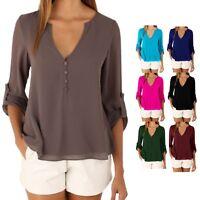 V Neck Blouse 3/4 Sleeve Chiffon shirt autumn Ladies Top UK Size 10-20 lot
