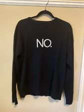 "360 Cashmere ""NO."" Black Oversized Womens Sweater Medium Fits Large"