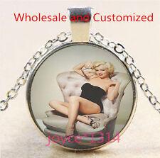 Marilyn Monroe Cabochon Tibetan silver Glass Chain Pendant Necklace #4864