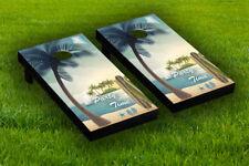 Party Time Beach Scene Cornhole Board Wraps Laminated Sticker Set Skin Decal