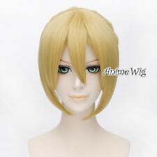 Vocaloid Kagamine Len Men 35CM Yellow Blonde Straight Hair Cosplay Wig+Ponytail