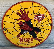VINTAGE 1962 PORCELAIN CONOCO N-TANE SPIDERMAN GAS AND OIL SIGN