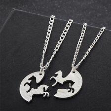 2pcs Animal Puzzle Horse Circle Pendant Necklace Best Friends Friendship Gifts
