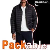 MEN'S HAWKE & CO PUFFER JACKET PACKABLE LIGHTWEIGHT DOWN FILL STORM BLACK MEDIUM