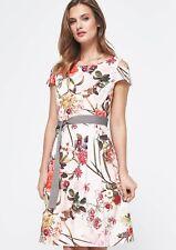NEU! COMMA Kleid 42 XL Creme Beige Elegant Cocktailkleid Floralmuster UVP 139,99