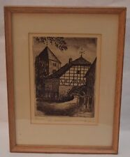 Vintage Signed & Framed Original Radierung (Etching)