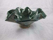 Hand Made Art Studio Pottery Bowl Green Wave Rim Pease 2003