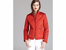 NWT BURBERRY BRIT WOMENS RED QUILTED CHECK COAT JACKET SZ SMALL