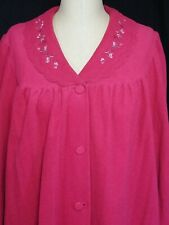 Vintage Shadowline Robe Raspberry Pink Size Large Long Button Up Velour 70's NWT
