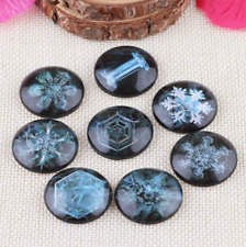 20pcs Round Glass snowflake cabochons Gem Setting Accessorie 10-30MM