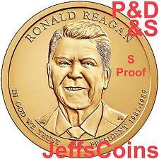 2016 P D S Ronald Reagan Presidential Golden Proof Dollar 3 Best Grade Coins PDS