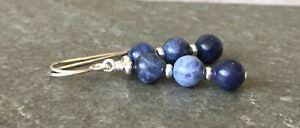 Blue Sodalite Gemstone & Sterling Silver Drop Earrings + Gift Box