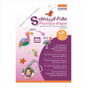 Glorex Schrumpffolie A4, Transparent, 5 Bogen Bilder verkleinern für Anhänger uä