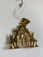 Vintage Tamerlane Gold Santa Ornament 1983 T USA Metal Reindeer House Chimney