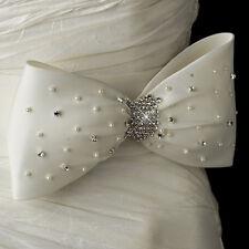 White or Ivory Pearl & Rhinestone Crystal Wedding Dress Bow Satin Sash Belt