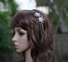 Swarovski Crystal & Pearl Bridal Wedding Headband with Flower Side Accent