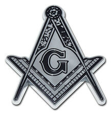 MASON DETAILED CHROME METAL AUTO EMBLEM car truck decal Freemason Masonic