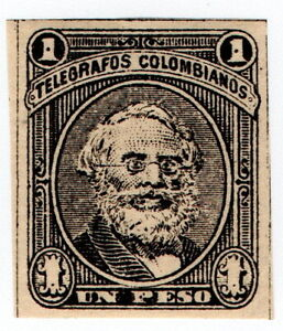 (I.B) Colombia Telegraphs : 1P Black (1888)