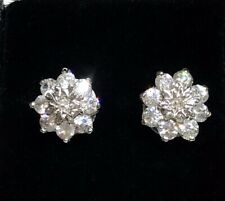 1.75ct Diamond Cluster Earrings 9ct White Gold for Pierced Ears 2.12 grams.