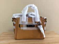 Coach Swagger 27 Top Zip Mixed Leather Satchel Gunmetal Light Saddle $450 NWT