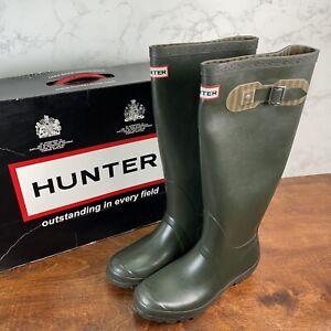 Hunter Festival Tall Dark Olive Rubber Rain Boots Men's SZ 8F-7M