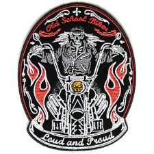 Embroidered Loud and Proud Old Skool Biker Sew or Iron on Patch Biker Patch