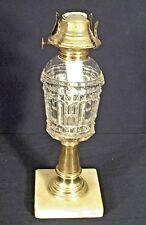 Antique 19th C. Victorian Glass+Brass Whale Oil Kerosene Lamp On A Marble Base