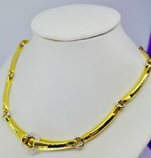 B SUPERBE COLLIER FEMME OR JAUNE 52gr 18KT DIAMANTS GOLD NECKLACE DIAMOND LADY