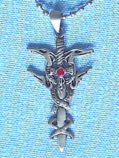 Twin Dagger Sword Pewter Pendant Mens Boys Womens Girls CHAIN NECKLACE  PC0474