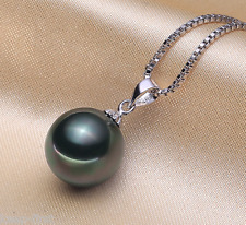 Pearl 18k White Gold Plated Pendant Natural 14mm Natural Black South Sea Shell