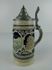 Vintage Wekara Beer Stein Earthenware Heidelberg Pewter Lid Breweriana