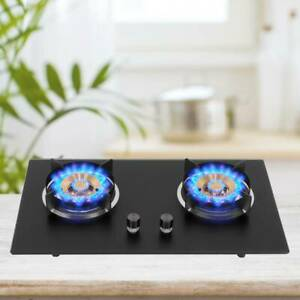 Built In 2 Burner Liquefied Gas Stove Double Cooker Kitchen Caravan Hob Black