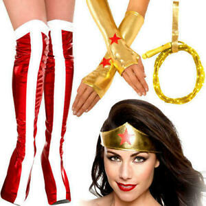 Wonder Woman Boot Covers Light Up Lasso Adult kids Superhero Costume Accessories