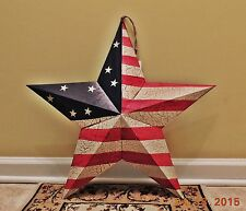 "Primitive Americana PATRIOTIC BARN Tin STAR Country Rustic Crackle Paint 24"" NEW"