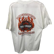 Harley Davidson Size Large Santa Barbara California White Tee Flames