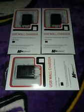 LOT of 3 Mobil Essentials USB Wall Chargers Black For All Phone +USB BRAND NEW!!