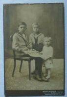 KABINETTFOTO 3 Kinder Matrosen Bilderbuch BRESLAU Wroclaw Scholz Brigittental 40
