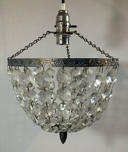 VINTAGE CHANDELIER GLASS BEAD DROPLET BASKET CEILING LIGHT SHADE