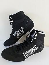 Mens boys LONSDALE size 7 euro 41 CONTENDER BOXING BOOTS black and white VGC