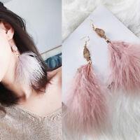 Elegant Women Feather Tassel Long Dangle Hook Bohemian Boho Earrings Jewelry