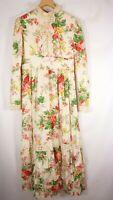 Vtg Prairie maxi dress Victorian Wedding floral 70s Boho M GEORGEOUS! Union made