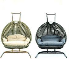 Wicker Beige Blue Charcoal Hanging 2 person Egg Swing Chair Indoor Outdoor