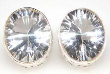 White Quartz Sterling SILVER Stud Earrings 925 Brilliant cut Solitaire Gemstone