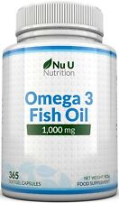 Omega 3 Fish Oil 1000mg High Strength 365 Soft gels  DHA ,EPA