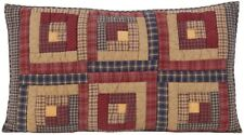 Hand Quilted King Size Pillow Sham Log Cabin Block Patchwork Navy Red Millsboro